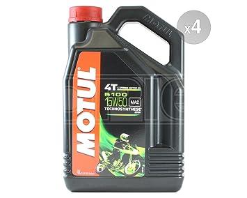 MOTUL 5100 4T 15 W-50 Semi sintético motocicleta aceite del motor - 4 x 4 litros: Amazon.es: Coche y moto