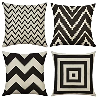 MIULEE Pack of 4 Decorative Black Wave Pillow Cover Geometric Style Durable Cotton Linen Burlap Square Throw Cushion Cover Cushion Case for Sofa Bedroom Car 18 x 18 Inch 45 x 45 cm