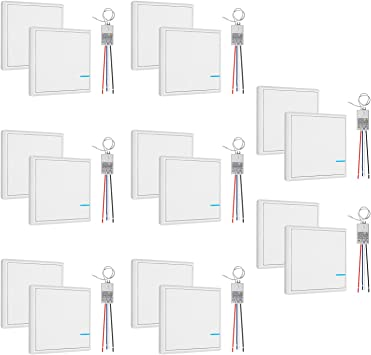 GBGS - Caja de 8 interruptores inalámbricos independientes de doble interruptor, receptor de luz, fácil instalación, sin cables, mando a distancia, múltiples luces, 5 años de garantía: Amazon.es: Bricolaje y herramientas