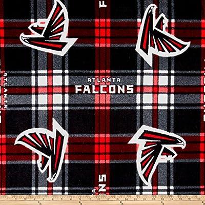NFL Fleece Atlanta Falcons Black Red Fabric By The Yard