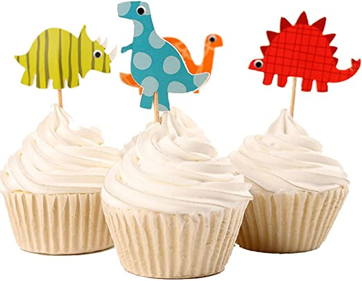Cupcake Wrappers Kid Birthday Baby Shower Toppers Animals Cupcake Decor Dinosaur