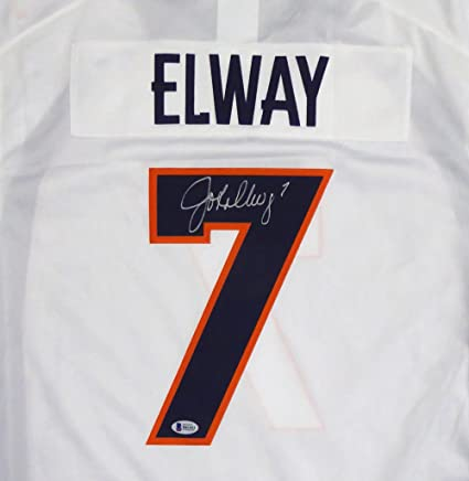 Denver Broncos John Elway Autographed White Nike Twill Jersey Size L -  Beckett COA f1832485c