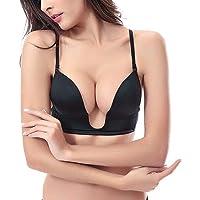 Vogue's Secret Sexy Deep Plunge U-Shaped Bra Push up Convertible Seamless V Shape Brassiere Women 32-42 A/B/C/D/E Cup