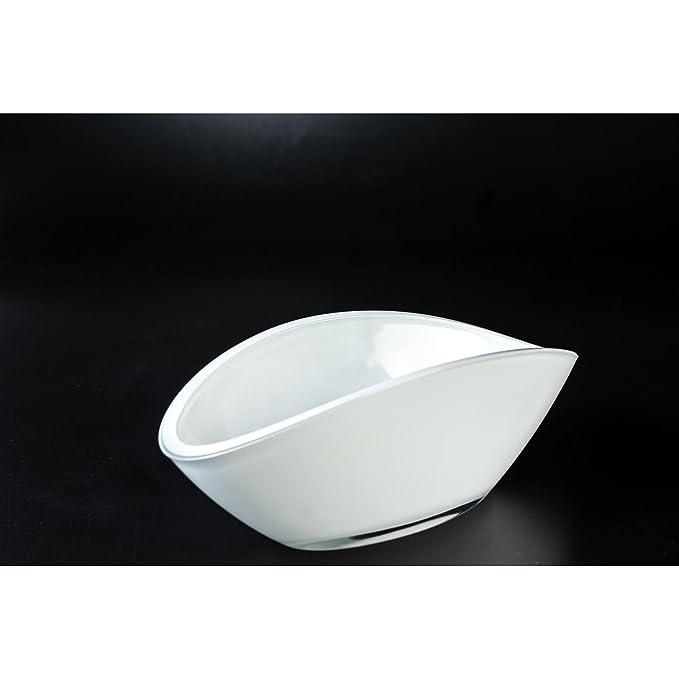 1 opinioni per Ciotola di vetro / Ciotola decorativa ovale KIRA, bianco, 26x12 cm- Ciotola per
