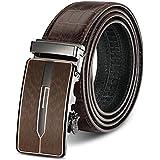 Niksa メンズベルト 本革 牛革 サイズ調整可能 オートロック バックル