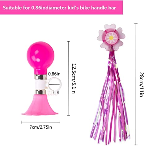 Pink Little World Kids Bike Horn Kids Bicycle Bell with 2 Pack Bike Streamers Bike Accessories for Girls or Boys