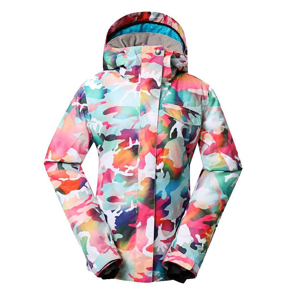 冬のスキースーツの女性のカラー印刷防水防風雪のジャケットベニヤダブルスノーボードジャケットアウトドアジャケット,XS  X-Small
