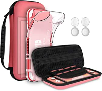 GeeRic 8PCS Case Compatible with Switch Lite, Accessories Kit Replacement for Switch Lite, 1 Soft Silicon Case + 2 Screen Protector + 4 Thumb Caps + 1 Storage Carrying Coral