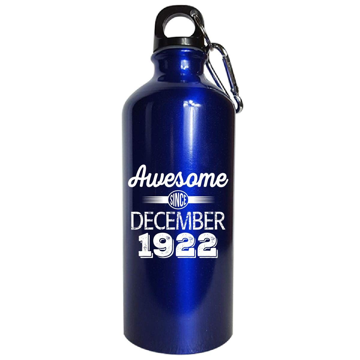 Awesome Since December 1922 Funny 96th Birthday Gift - Water Bottle Metallic Blue by Shirt Luv (Image #1)