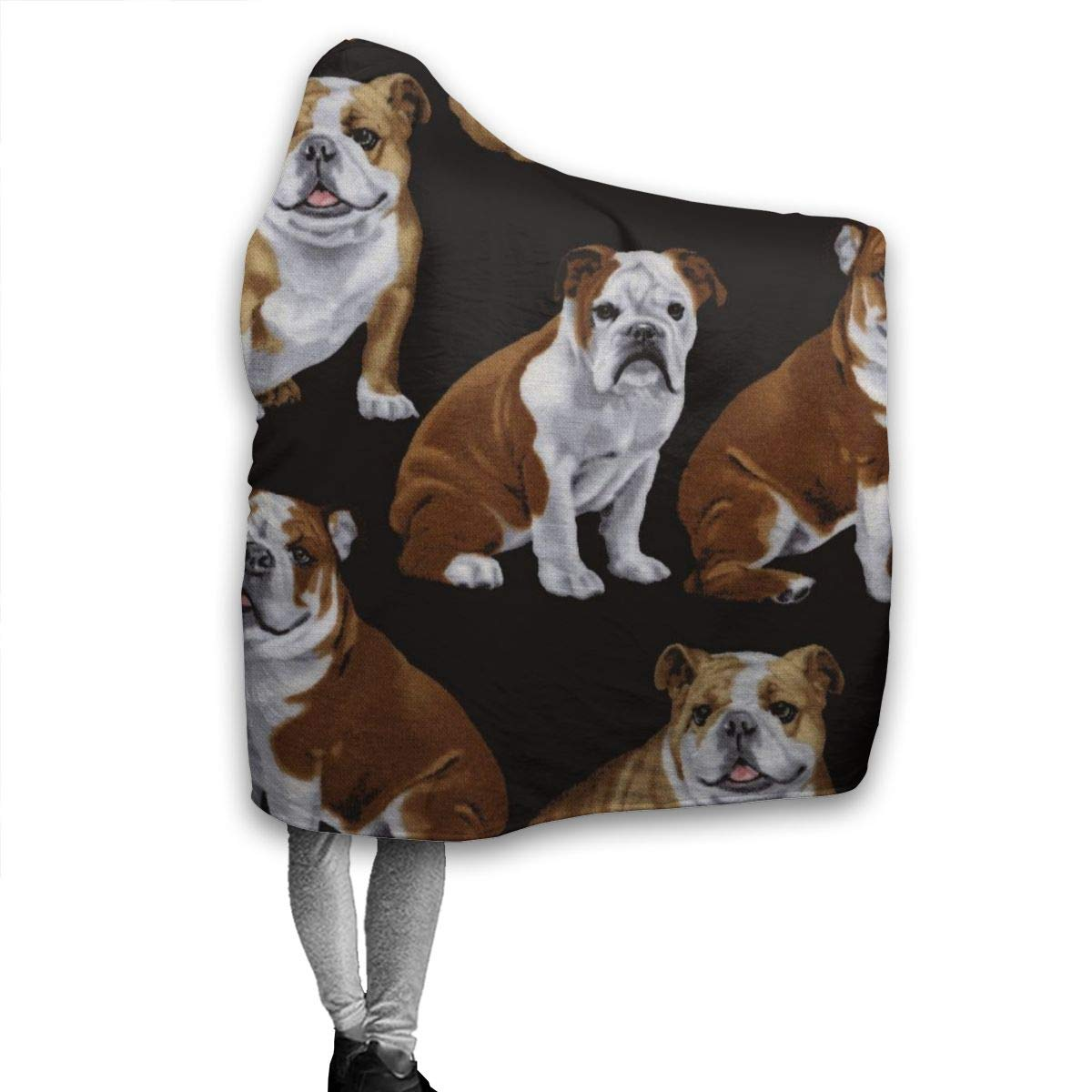 AUISS Warm Hoodie Blanket English Bulldogs Hooded Throw Wrap Cape Cloak Pullover Kids Durable Home Office Shawl Flannel Fleece with Sleeves
