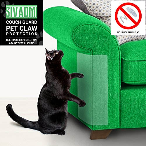SIVADMI Pet Couch Protector – 2 Clear Vinyl Pet Cat Dog Claw Guards With Self-Adhesive Pads – Discreet Cat Scratch Furniture Protector, Cover To Protect The Upholstery, Walls, Mattress, Car Seat, Door
