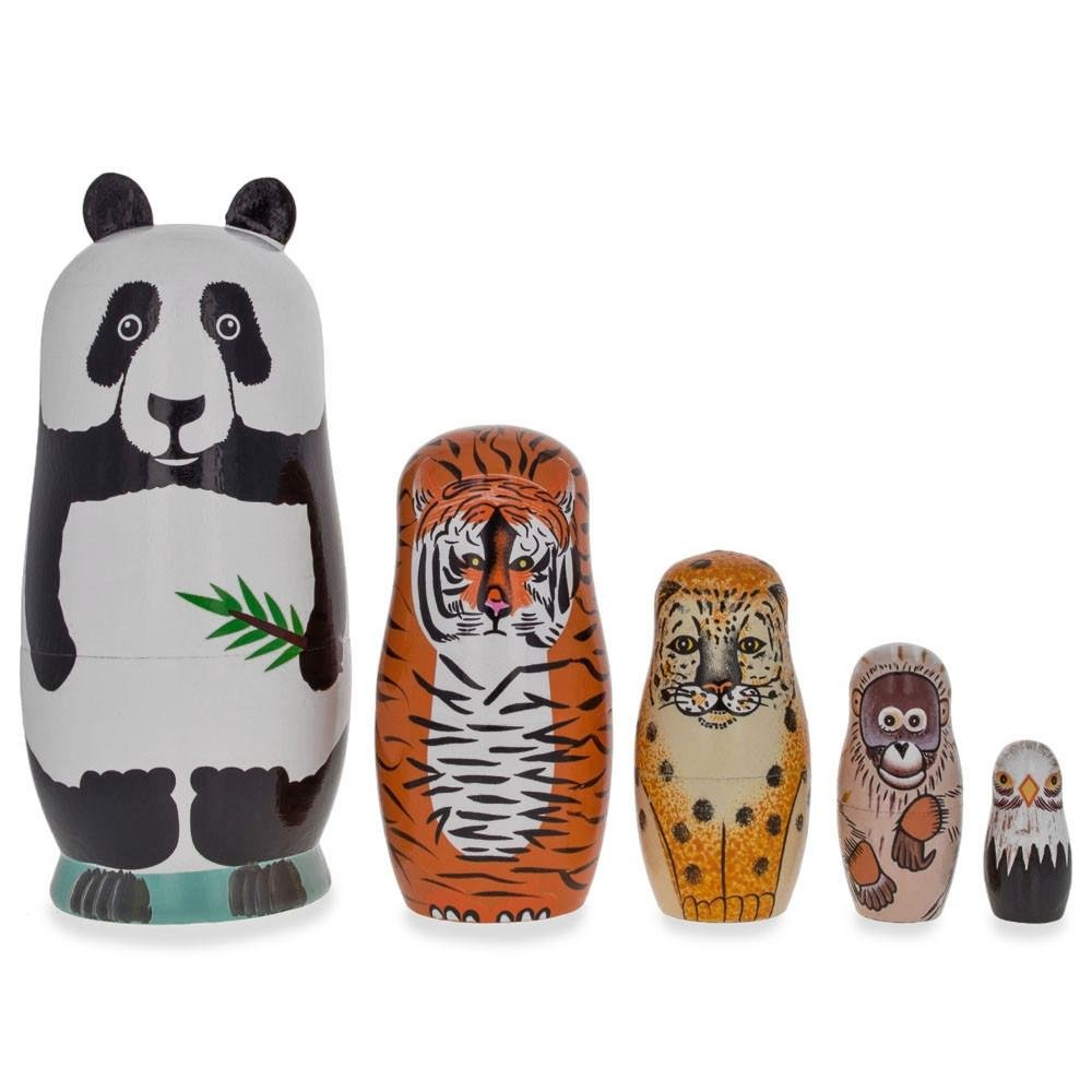 BestPysanky Endangered Animals Panda, Tiger, Leopard, Bold Eagle Wooden Nesting Dolls by BestPysanky