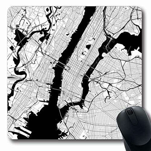 Ahawoso Mousepads Mono NYC New York City Monochrome Map USA Black White American Area Design Geography Oblong Shape 7.9 x 9.5 Inches Non-Slip Gaming Mouse Pad Rubber Oblong Mat