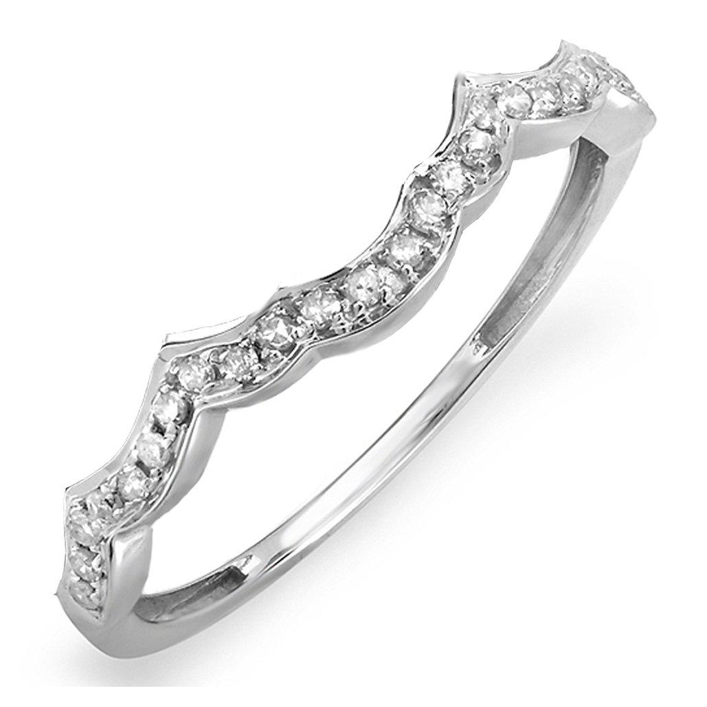 0.10 Carat (ctw) 14K White Gold Diamond Wedding Stackable Contour Guard Band 1/10 CT (Size 7.5)