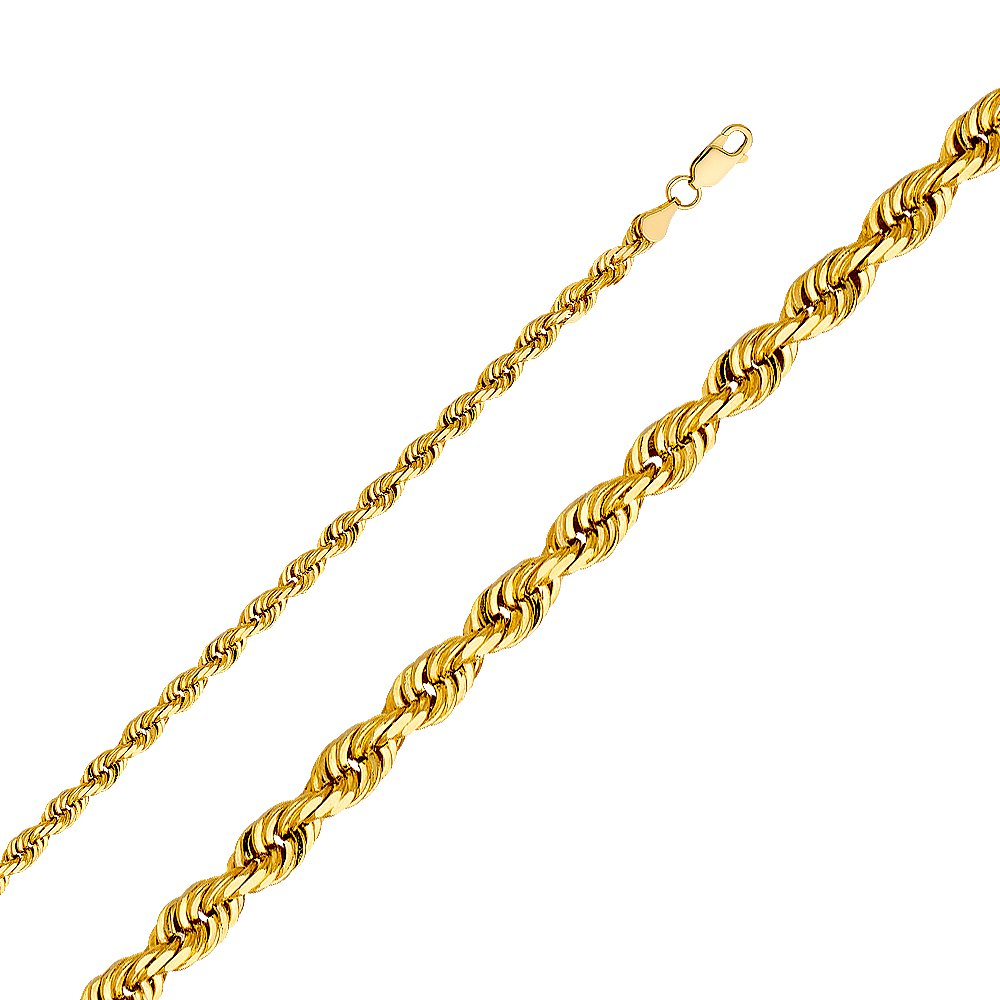 14k Yellow Gold Solid Men's 4.5mm Solid Rope Diamond Cut Chain Necklace with Lobster Claw Clasp - 20''