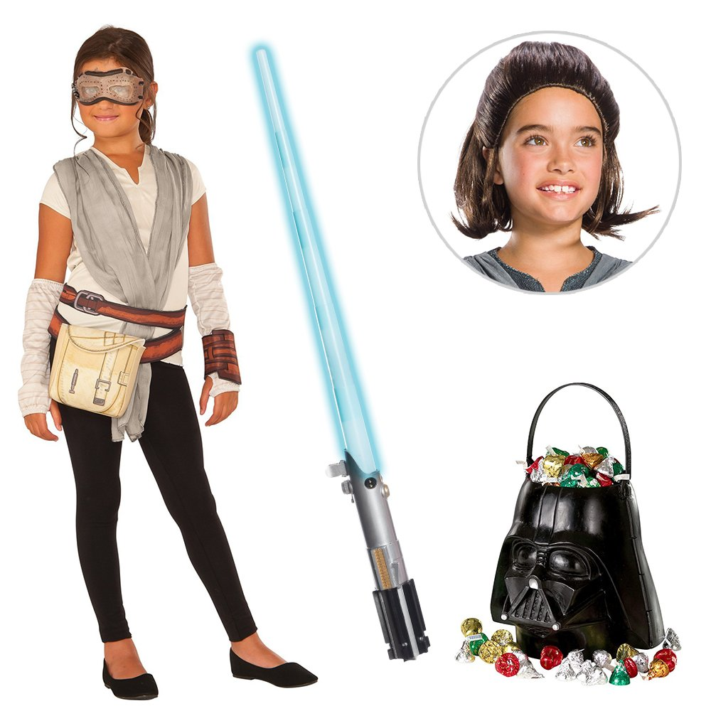 Star Wars Episode VII: The Last Jedi - Girls Rey Dress with Wig and Lightsaber Bundle - Small