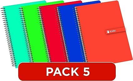 Enri 100430081 - Cuadernos Cuarto(A5), Paquete 5 unidades, Tapa ...