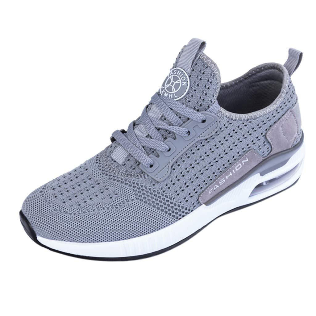 Couple Sneakers,Mosunx Athletic 【Air Cushioning Mesh Breathable Lightweight】 Lace Up Trail Gym Treadmill Sport Running Walking Shoes for Men Women (5.5 M US, Gray)