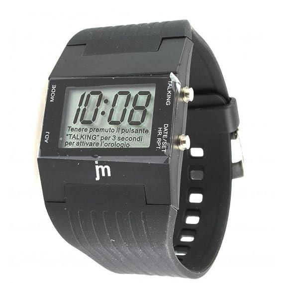 CursOnline Reloj digital de pulsera JM parlante de lingua italiana, unisex con función on/