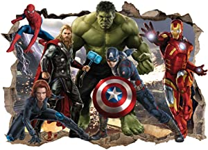 ZHIHANYU Super Hero Wall Decals Movie Characters Wall Stickers Excellent Vinyl Smashed Wall Decoration for Boys Bedroom Living Room Playroom Decor Size:(16 x 24inches )