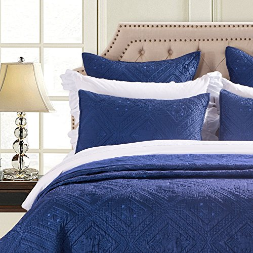 Calla Angel Fern Crystal Luxury Faux Silk Quilted Pillow Sham, Standard, 20x26, Navy ()