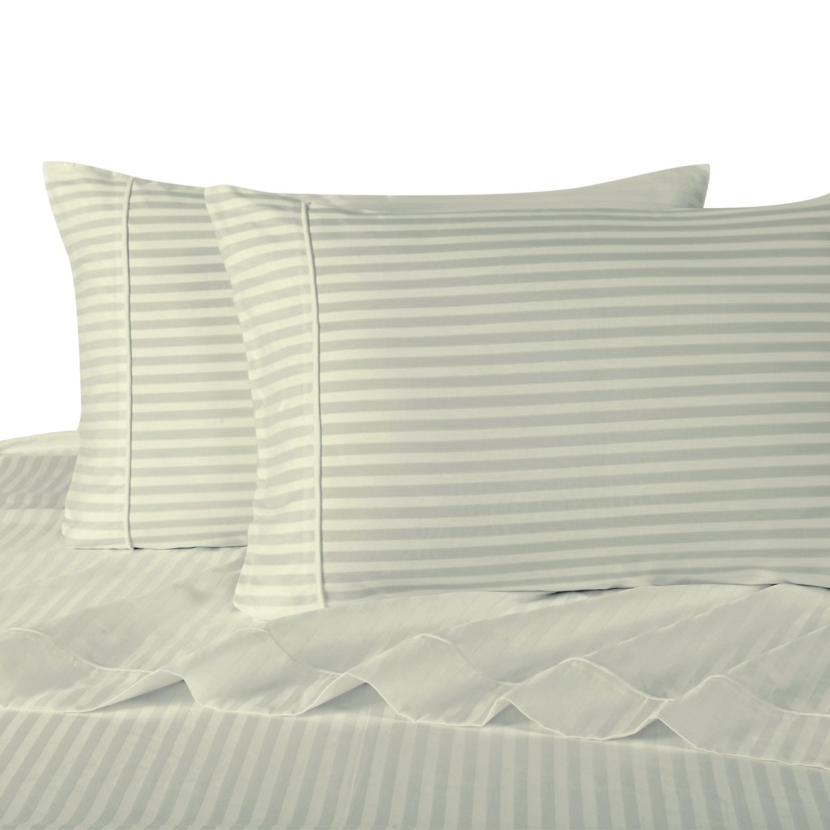 Stripe Ivory Standard Size Pillowcases, 2PC Pillow Cases, 100% Cotton, 300 Thread Count, Sateen Striped, by Royal Hotel