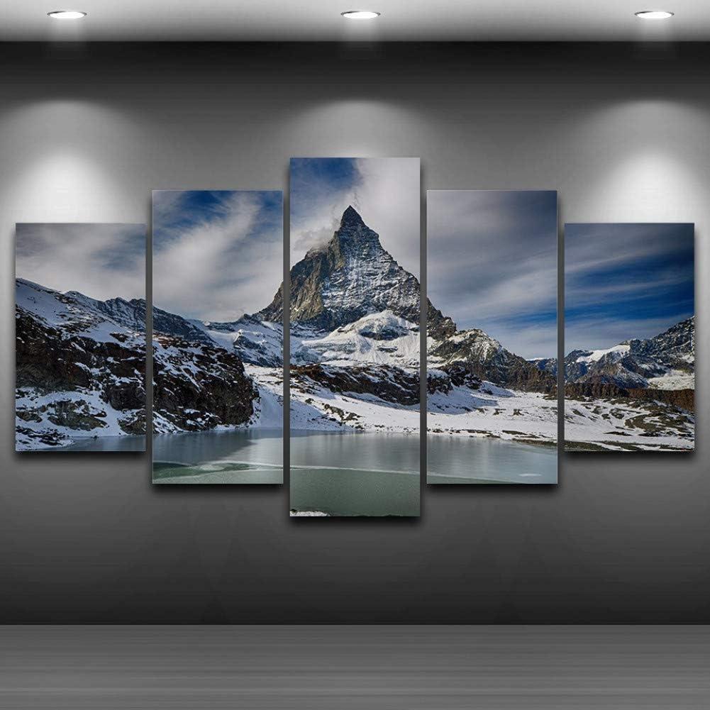 TBDZPS 5 Paneles Pintura De Lienzo Cuadros De Pared Cartel De Paisaje De Montaña De Nieve para Sala De Estar Decoración para El Hogar Pintura Abstracta sobre Lienzo