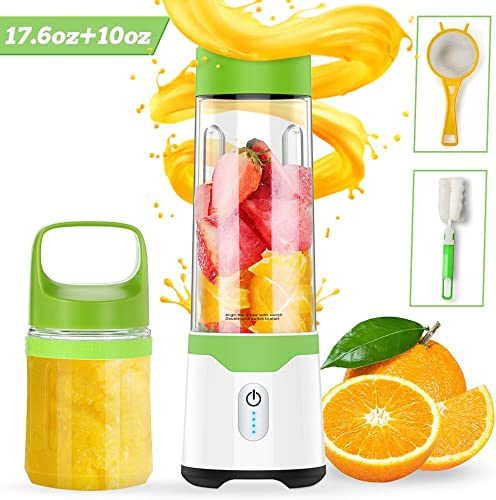 Portable Blender, TROPRO USB Handheld Blender Shakes and Smoothies, Travel Juicer, Fruit Mixer, Juice Cup, BPA Free, Home Office Beach Gym Sports 17.6oz 10oz