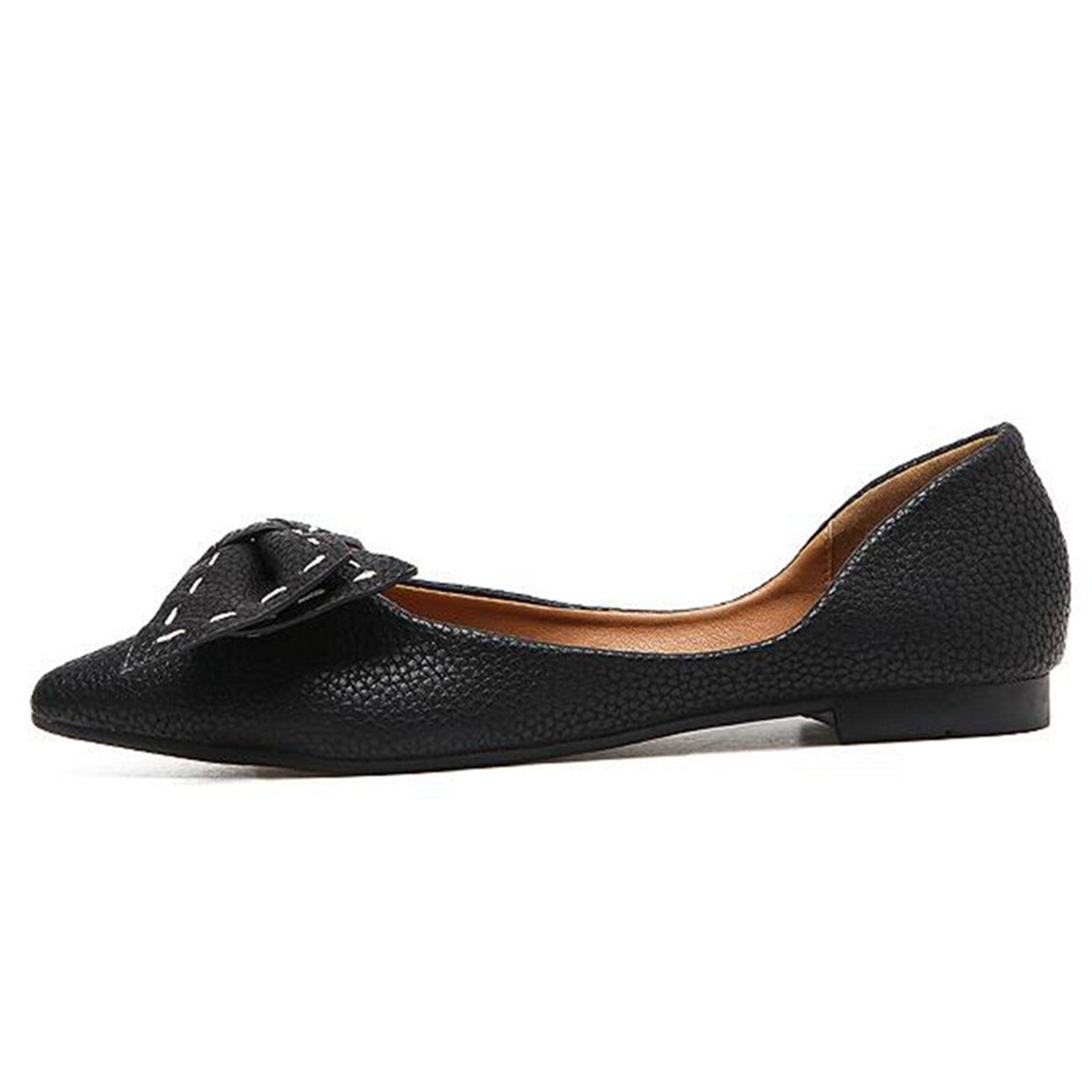 Bow Slip On Black Rubber Sole China Party Ladies Flats Shoes Women Pointed Toe