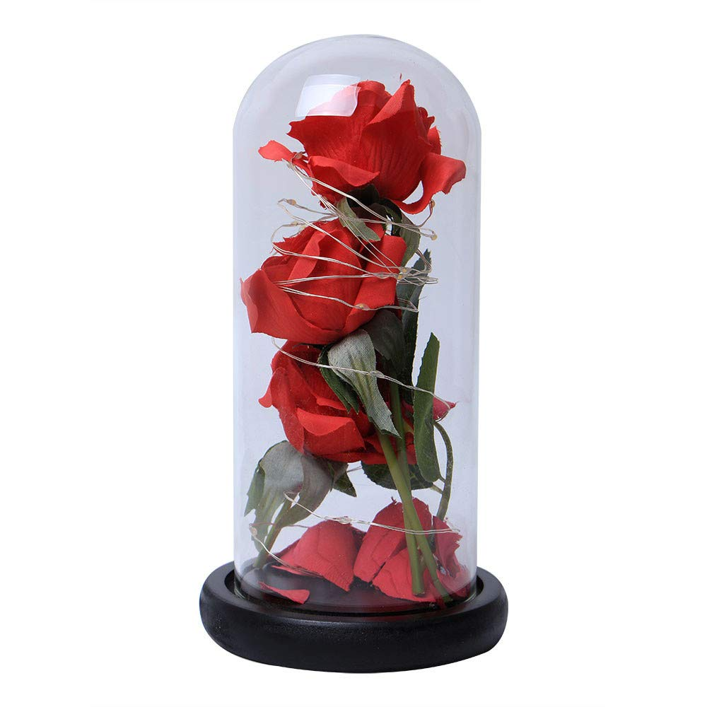 SUKEQ Beauty and Beast Red Silk Rose, Creative LED Light Preserved Immortal Rose with Fallen Petals in Glass Dome on Wooden Base for Home Decor Holiday Party Wedding Valentine's Day Christmas