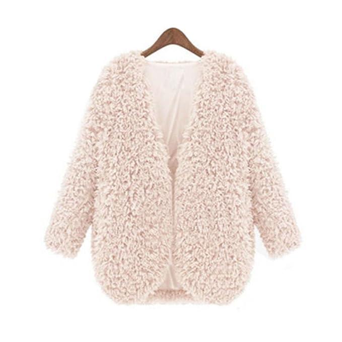 Amazon.com: Doreen Mujer Fluffy Shaggy Pelo Sintético capa ...