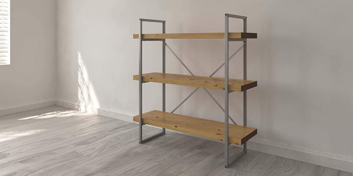 Industrial Rustic Solid Wood And Steel Free Standing Shelves Options For Size Shelf No And Finish Available