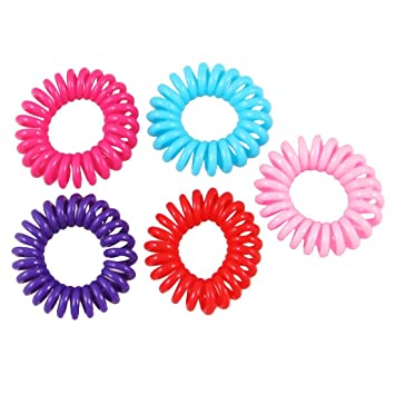 5 Pcs Women Plastic Assorted Color Bouncy Coil Hair Tie Ponytail Holders 609b14bf605