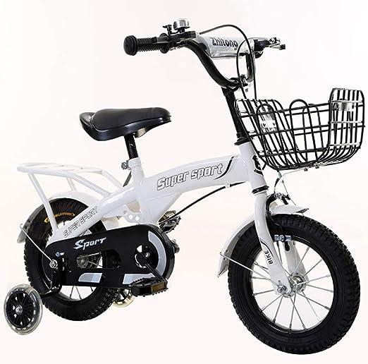YWZQ Bicicleta para niños, Bicicletas para niños y niñas Asientos portátiles neumáticos Antideslizantes Resistentes Frenos Dobles Seguros y sensibles, Regalos de Juguetes para niños,White,16inch: Amazon.es: Hogar