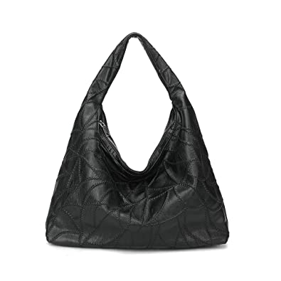 e816b83800ea Amazon.com  women Large Handbags Soft PU leather Hobo Purses Designer  Shoulder Bags Ladies Tote handle bag black  Shoes