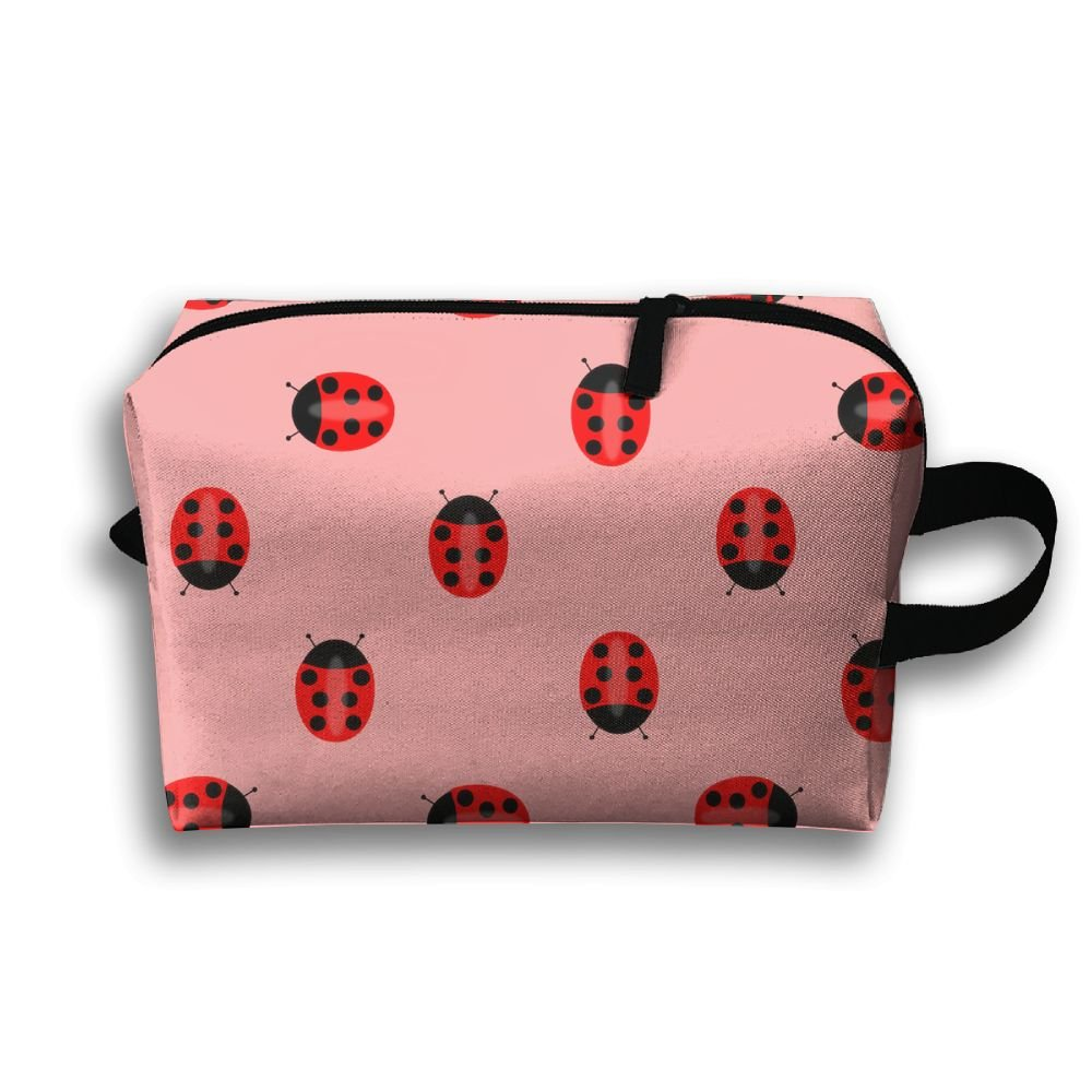 DTW1GjuY Lightweight And Waterproof Multifunction Storage Luggage Bag Ladybug Pattern