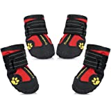Petacc Dog Boots Water Resistant Dog Shoes and Protect Paws with Soft Nonslip Soles 4 Pcs