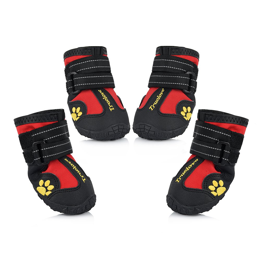 Petacc Dog Boots Water Resistant Dog Shoes and Protect Paws with Soft Nonslip Soles 4 Pcs in Size 8Red