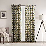 25 Sizes Available (Set of 1 panel) (100″W x 108″L) Tab Top Contemporary Print Minimalist Multi Color Leaves Blackout Lining Window Treatment Draperies & Curtains Panels For Sale