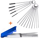 Set of 2 Carburetor Carbon Dirt Jet Remove Cleaner 13 Cleaning Wires Set + 10 Cleaning Needles + 5 Nylon Brushes Tool Kit for