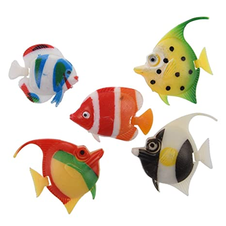 SODIAL(R) 5 Peces de Plastico Artificial Multicolores Decoracion para Acuario
