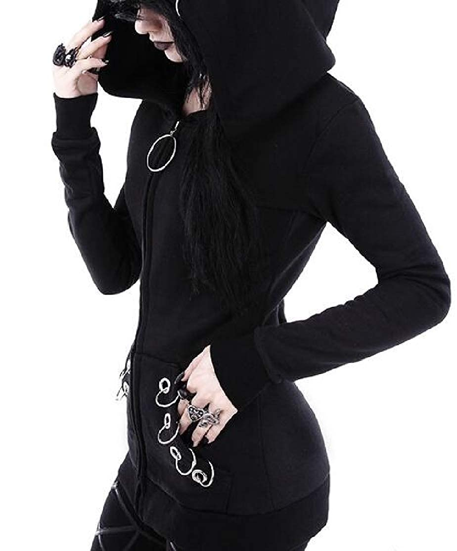 Domple Womens Long Sleeve Zip-Up Print Steampunk Hooded Sweatshirts Tops