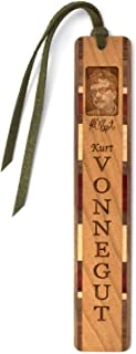 product image for Author - Kurt Vonnegut Photo with Signature, Engraved Wooden Bookmark with Suede Tassel - Also Available Personalized