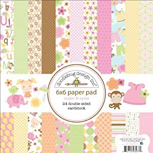 Bulk Buy: Doodlebug Sugar & Spice Paper Pad 6in. x 6in. 24 Double Sided Cardstock Sheets (3-Pack)