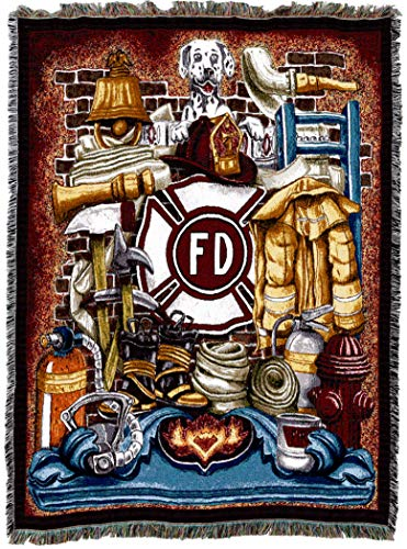 Pure Country Weavers | Firefighter Fireman Pride Woven Tapestry Throw Blanket with Fringe Cotton USA 72x54