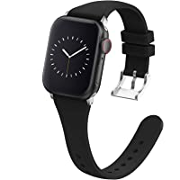 Adepoy Compatible with Apple Watch Bands 38MM 40MM 42MM 44MM for Women Men, Soft Silicone Narrow Slim Replacement Sport…