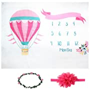 Citihomy Baby Monthly Milestone Blanket Newborn Girls Pink Hot Air Balloon Photo Props Shoots Backdrop Personalized Photography Growing Infants Toddlers Swaddle Blanket
