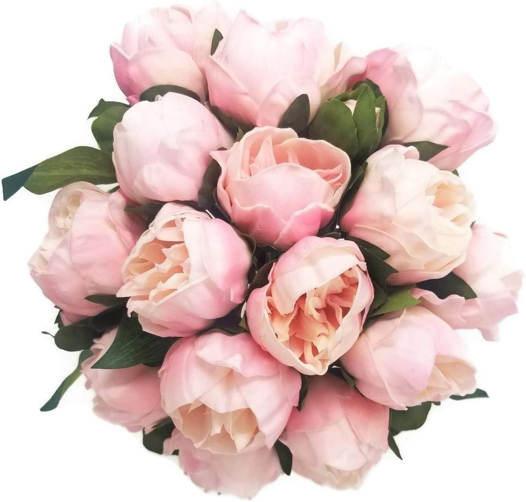 "Meide Group USA 14"" Real Touch Latex Mini Peony Bunch Artificial Spring Flowers for Home Decor, Wedding Bouquets, and centerpieces (6 PCS) (Shabby Chic Pink)"