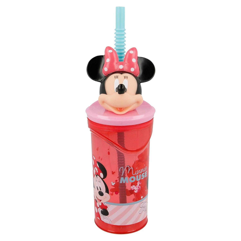 19 x 7 cm Vaso con Pajita 360 ml Rosa Stor Minnie