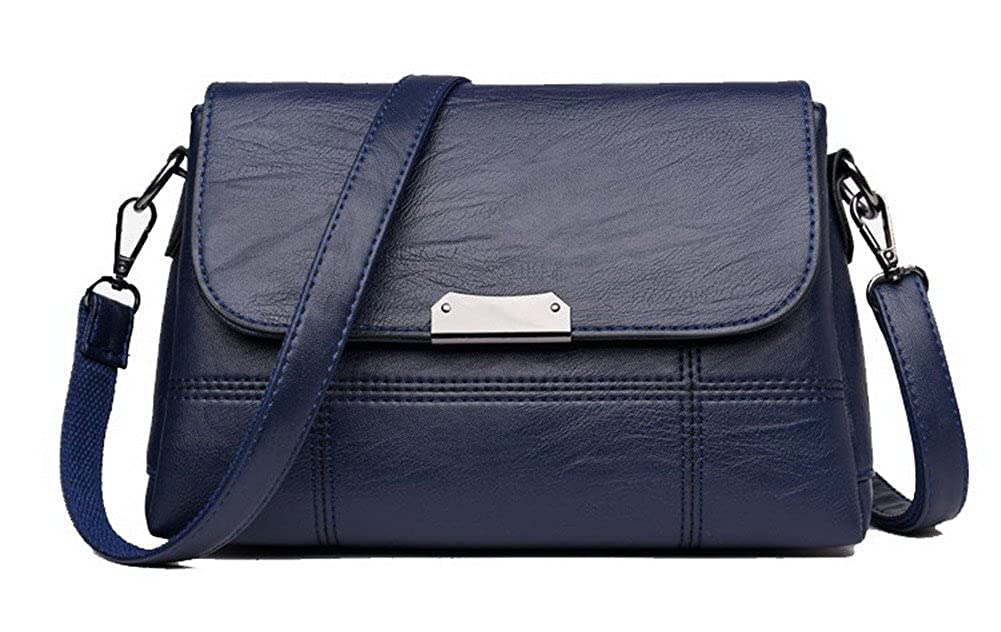 bluee AmoonyFashion Women's SatchelStyle Pu Tote Bags Work Shopping Crossbody Bags, BUTBS181556